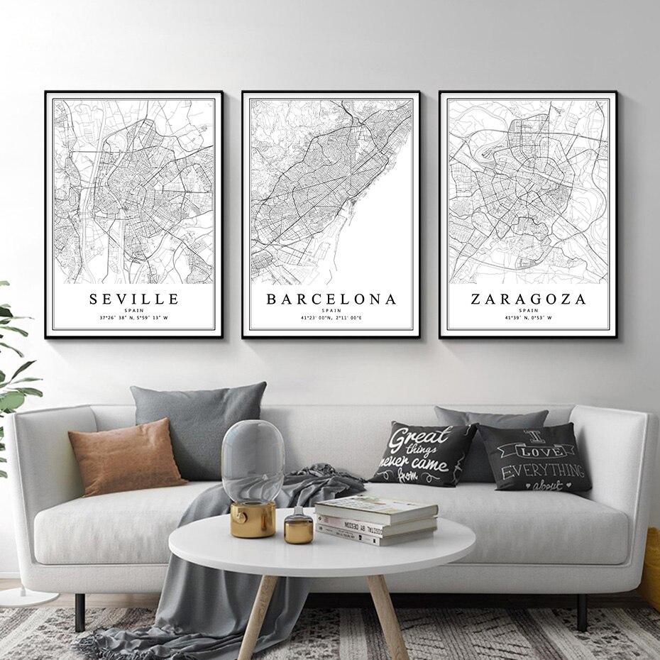 Pósteres de mapa de la ciudad de España, cuadro en lienzo con...