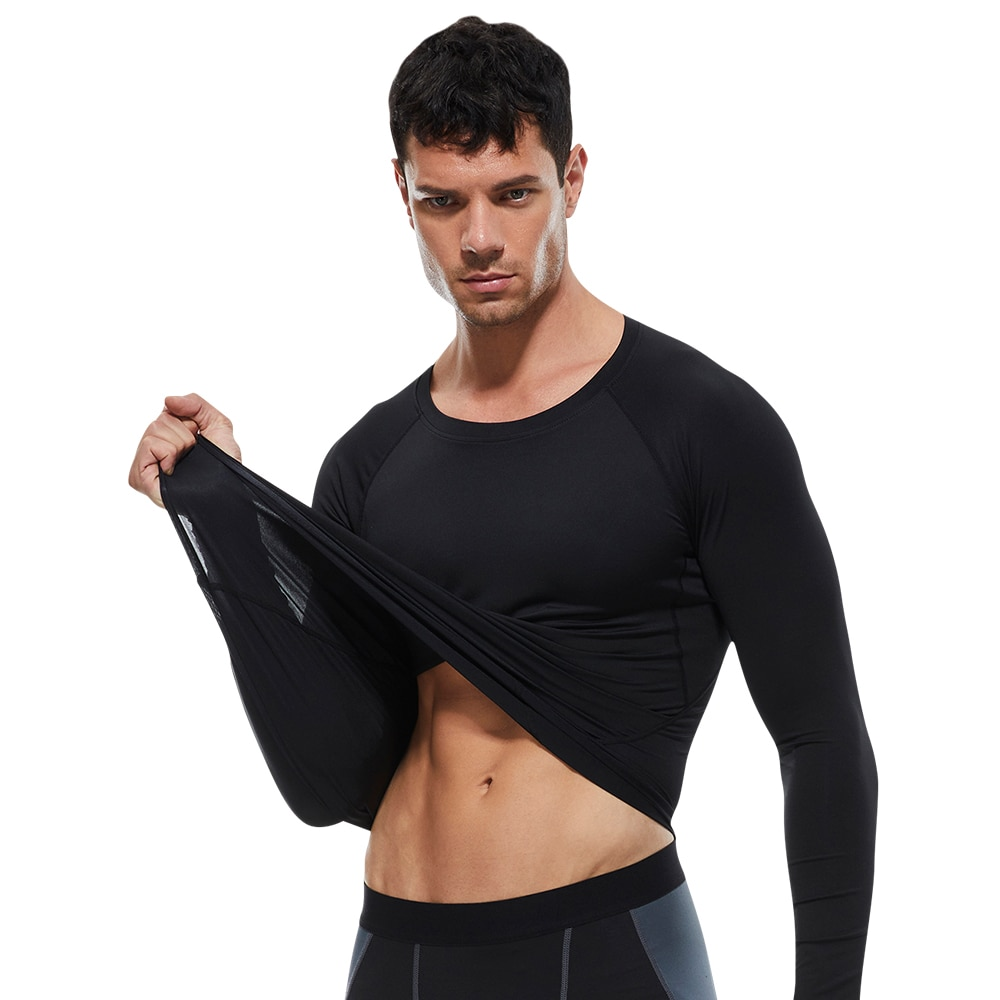 Lovmove Spandex Man Lange Mouw Plus Size Fittness O Hals Base Top Pro Bodybuilding Running Training Shirt Mannelijke Running Kleding