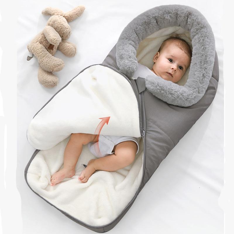 Newborn Baby Winter Warm Sleeping Bags Infant Button Swaddle Wrap Swaddling Stroller Wrap Toddler Blanket Children Sleeping Bags
