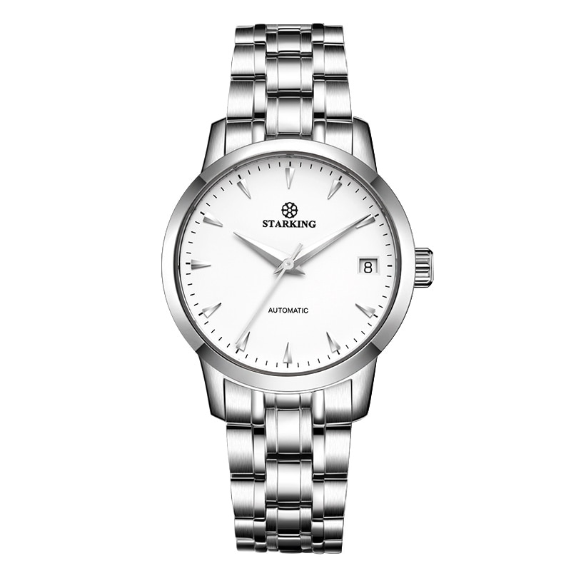 StarKing Classic Women Simple Watch Automatic Stainless Steel White Dial WristWatch Auto Date Ladies Mechanical Relogio Feminino enlarge