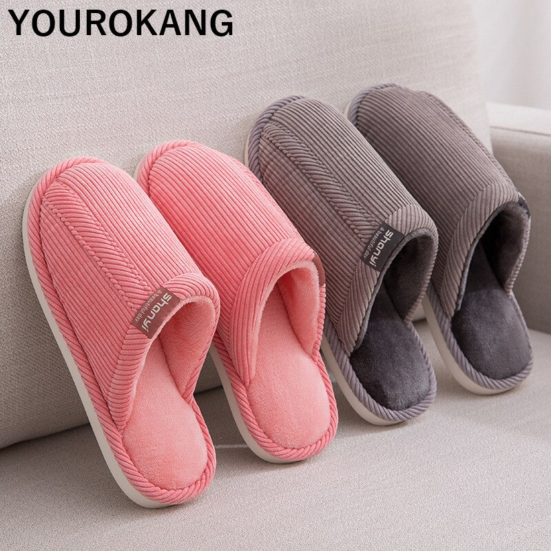 Autumn Winter Men Shoes Home Slippers Indoor Bedroom Floor Lovers Flip Flops Non-slip Corduroy Couple Shoes Unisex Plush Slipper