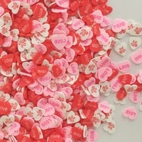 mixed color love heart shaped sequins polymer clay for diy crafts tiny cute plastic klei mud particles