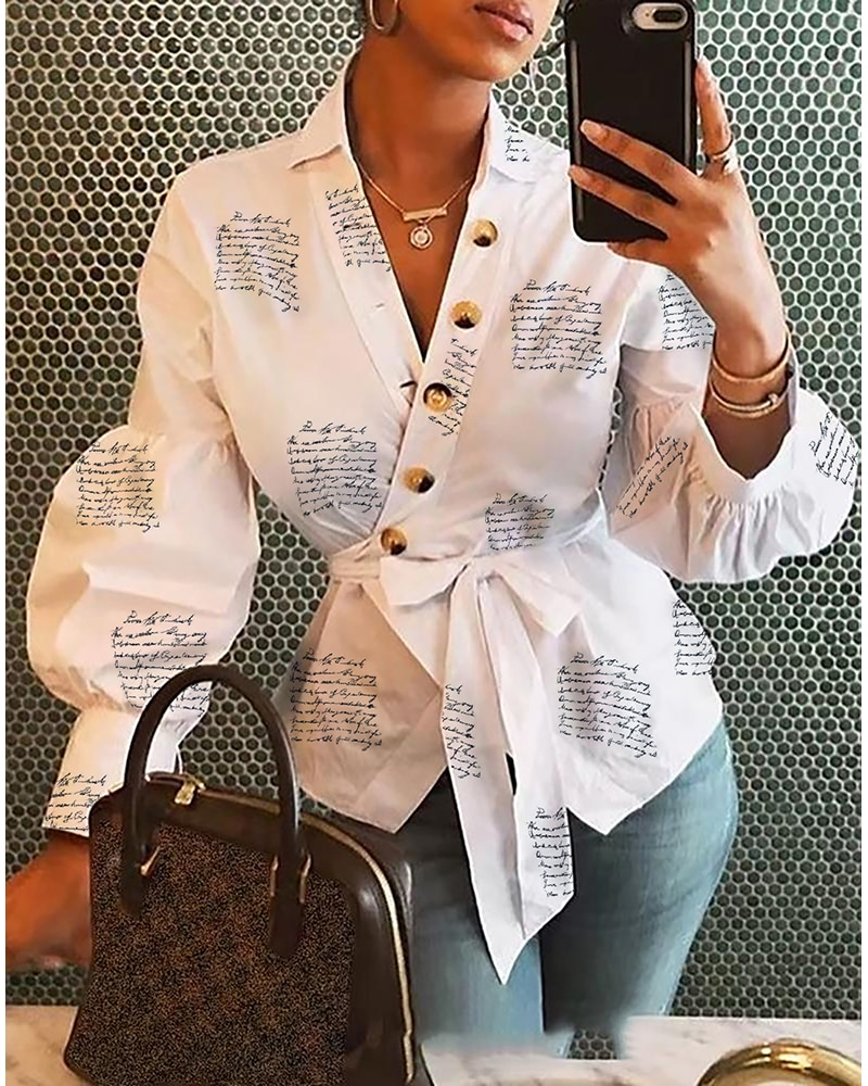 cutout back bow front surplice wrap top Women Elegant Lantern Sleeve Buttoned Surplice Wrap Printed Blouse Female Casual Streetwear Print Shirt And Blusas Femme Ropa