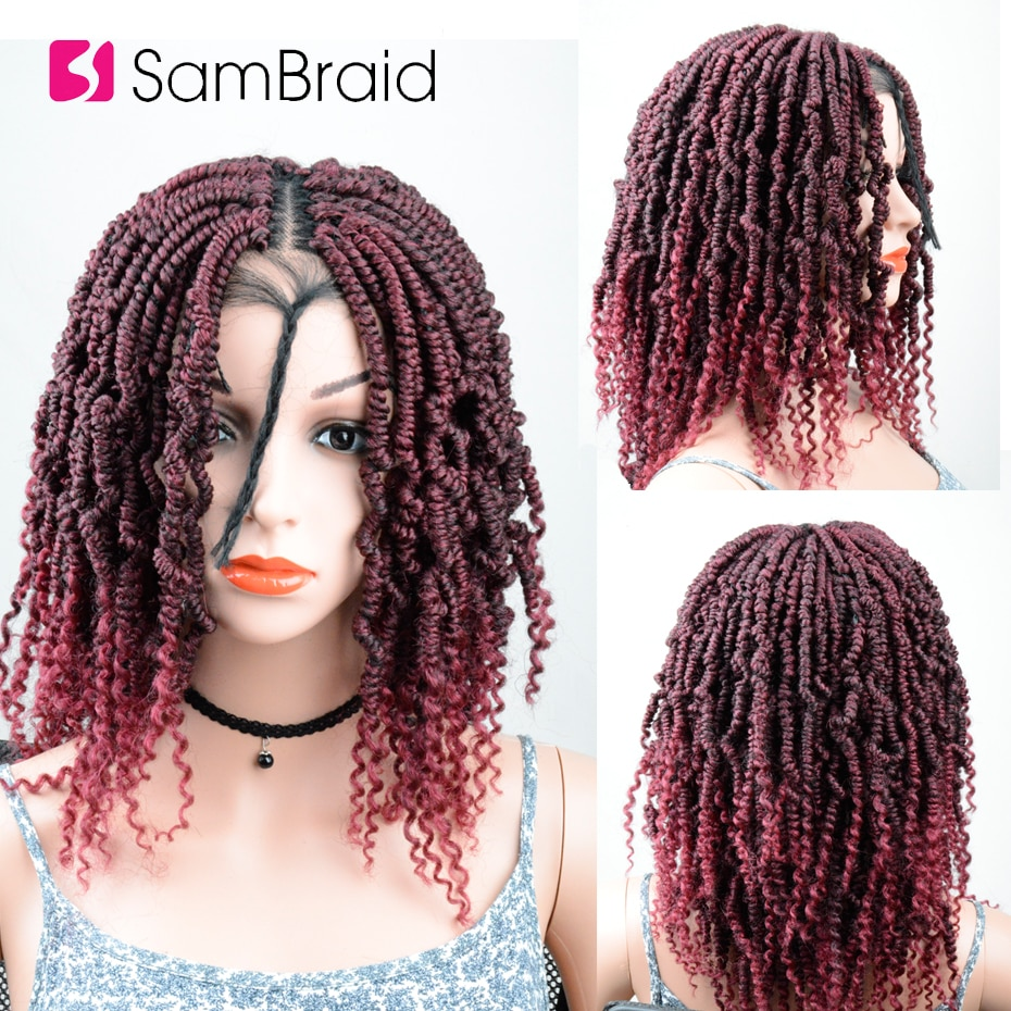 SAMBRAID 18inch DIY Crochet synthetic Braiding Wig Hair Ombre Lace Front Wig With Crochet Braids Passion Spring Twist Lace Wig
