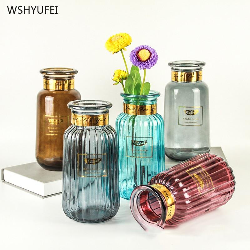 Jarrón de vidrio de color dorado fresco pequeño de ins wind, arreglo de flores, jarrón creativo, adornos de decoración de escritorio para el hogar