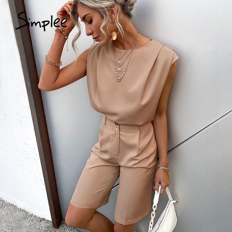 Simplee-بذلة كاكي كاكي بدون أكمام ، قصة مستقيمة ، أرجل قصيرة ، ياقة دائرية ، ملابس صيفية غير رسمية