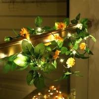 string lights led orange sunflower light string battery style outdoor indoor bedroom window christmas tree decoration lamp 1pc