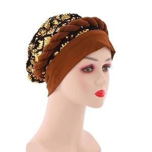 HanXi Women Turban Bonnet Milk Silk Fabric African Muslim Hat Beanie Fashion Sequins Headwear Lady Fashion Sparkly for Party