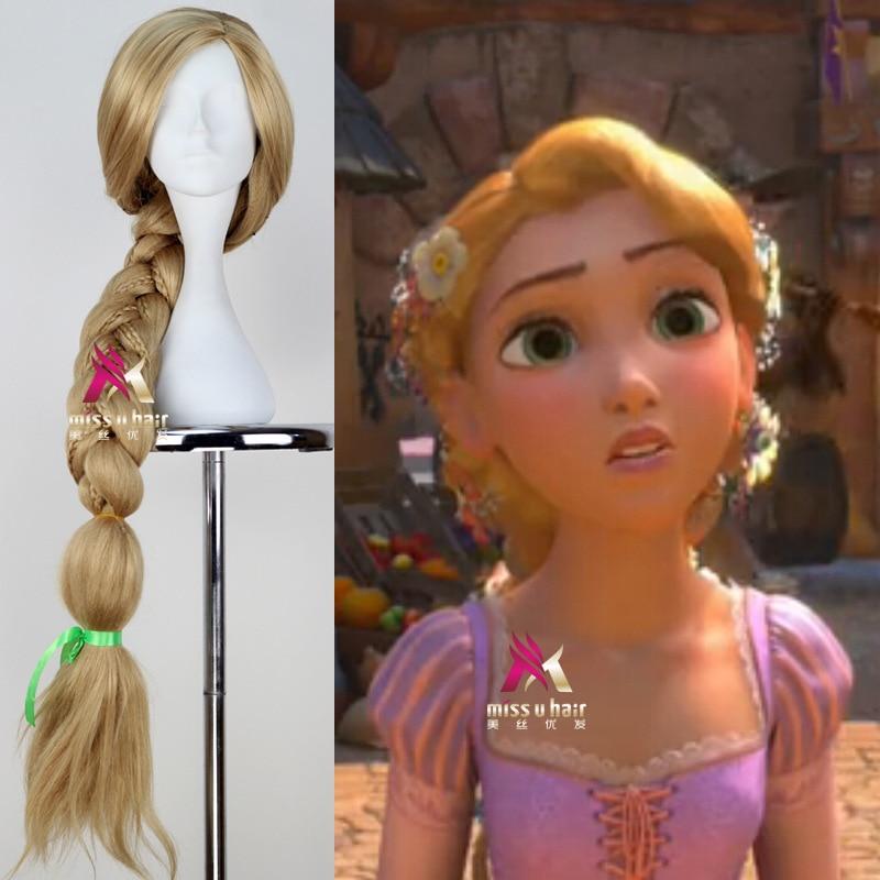 Peluca de chicas Rapunzel regalo de trenzas para Niñas para fiesta de cumpleaños cosplay de Halloween suministro de Falsa para niños Peluca de trenzas de princesa