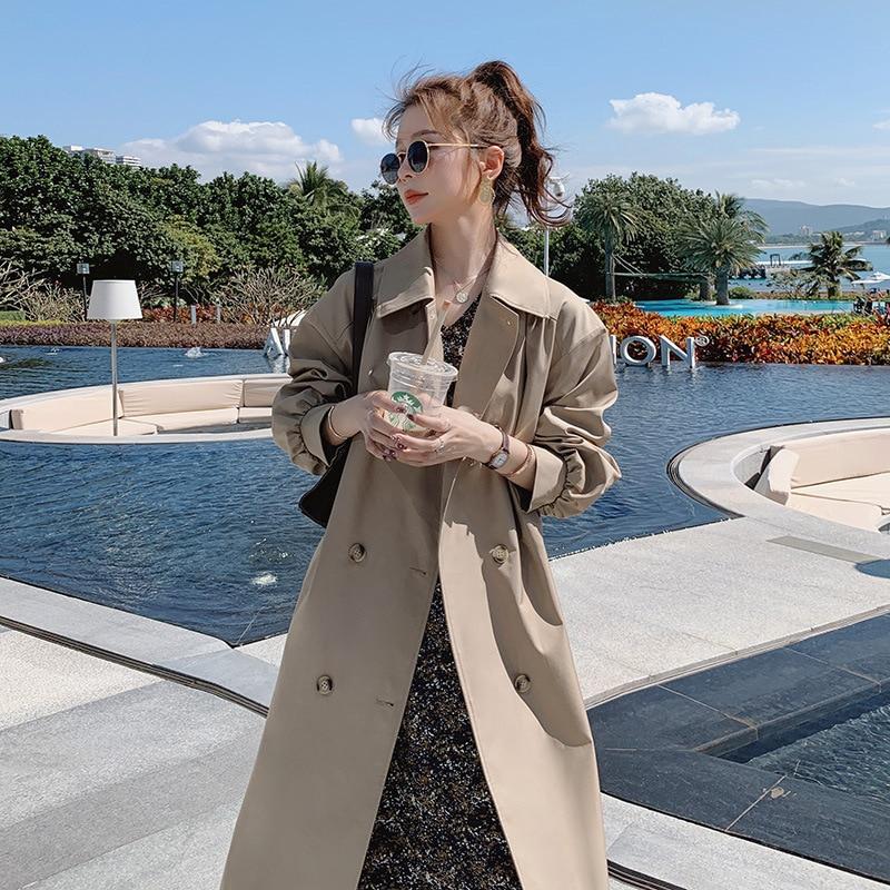 Women's Double-Breasted Women Trench Coat Long Belted Slim Lady Duster Coat Cloak Female Outerwear S