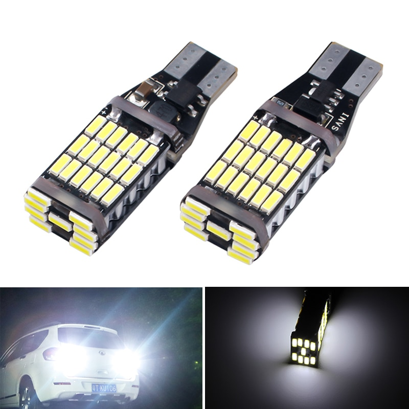 2 piezas Super brillante T15 W16W 921 Auto Canbus luz inversa iluminación de marcha atrás lámpara de respaldo T16 luces de respaldo 45 SMD LED 4014