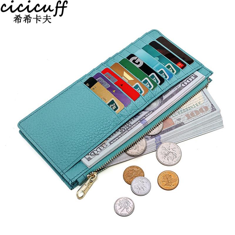 New Women Wallets Zipper Genuine Leather Coin Purse Ultrathin Organizer Case Wallet Multi-card Bit Bank Cards Holder Card Case