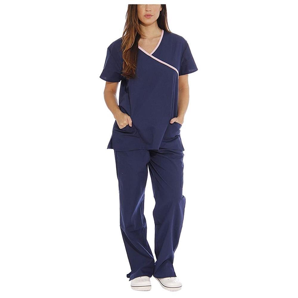 Las nuevas mujeres de ropa de manga corta Tops con cuello en V + Pantalones de uniforme de trabajo conjunto traje de mono ropa de uniforme de 2020