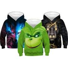 Sweat-shirt grande taille pour garçons   À capuche, motif 3D, singe loup Lion licorne, manteau pour enfants