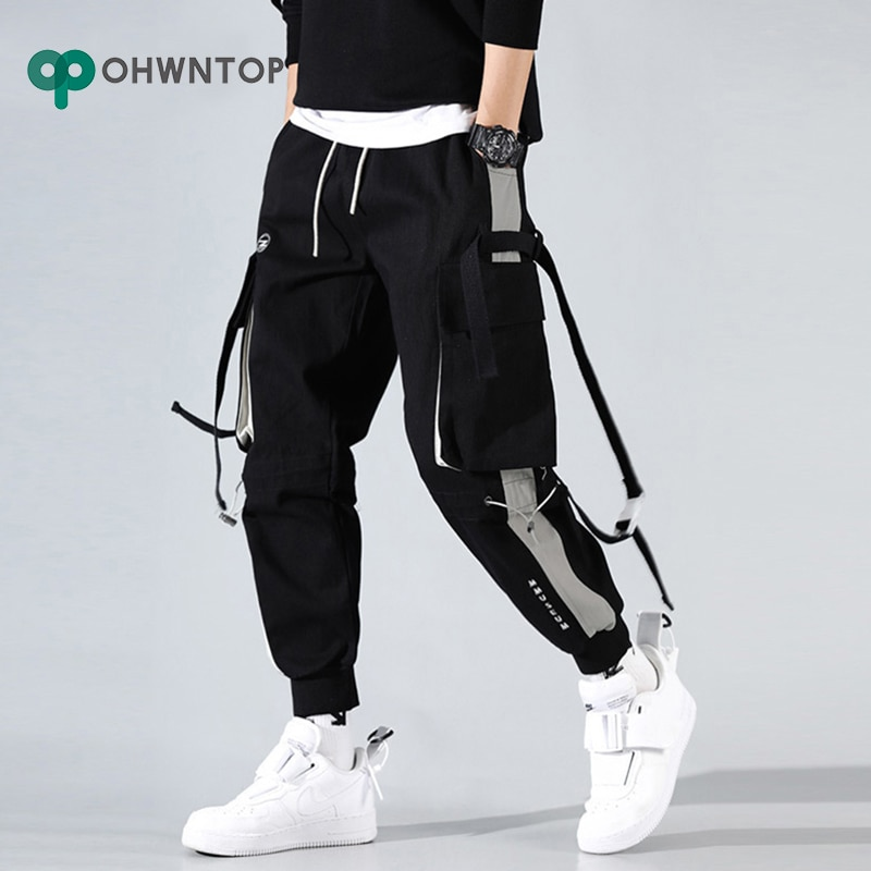 Pantalones Cargo de harén Jogger para hombres, moda Hip Hop para hombres, pantalones casuales de pista, pantalones de chándal Harajuku Hipster, pantalones de ejercicio con bolsillo para hombres