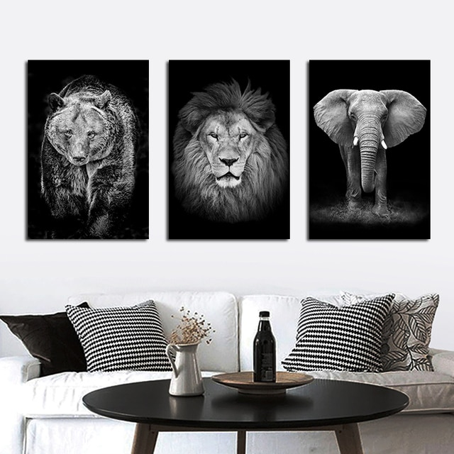 Black And White Animals tiger lion Wall Art Canvas Painting Poster and Prints Wall Picture for Living Room Decoration Home Decor 2