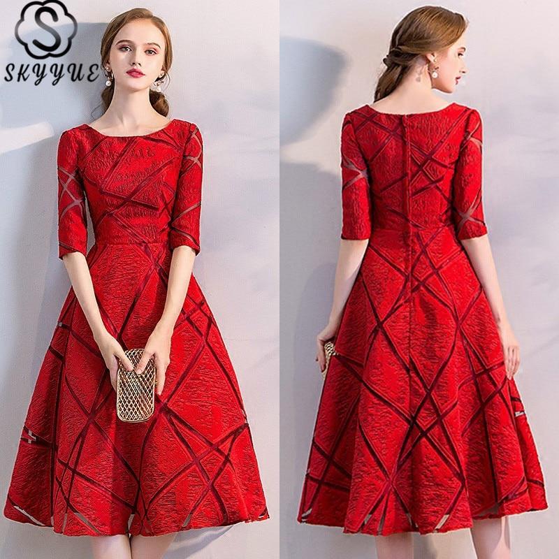 فستان رسمي من Skyyue برقبة دائرية وبأكمام مفرغة فستان مسائي أنيق على شكل حرف a لعام 2019 للنساء رداء De Soiree LX763