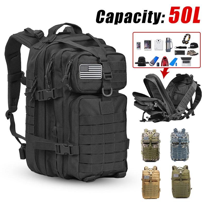 حقيبة ظهر كبيرة 3P تكتيكية للجيش للرجال بسعة 50L حقيبة ظهر ضد الماء خارجية للتخييم والتنزه والصيد