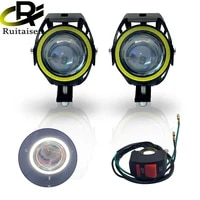 2x u7 led motorcycle angel eyes headlight drl spotlights auxiliary bright led bicycle lamp accessories car work fog light