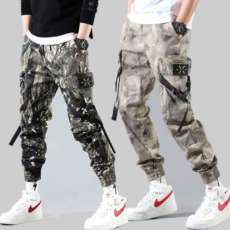 2020 модные камуфляжные мужские брюки-карго Брюки Мужские штаны-шаровары в стиле «хип-хоп» камуфляжной расцветки брюки с резинкой на щиколот...