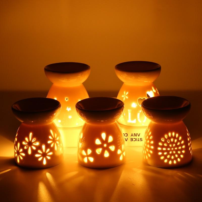 Ceramic Candle Holder Incense Burner Aroma Lamp Essential Oil Aromatherapy Diffuser Porcelain Spa Ho