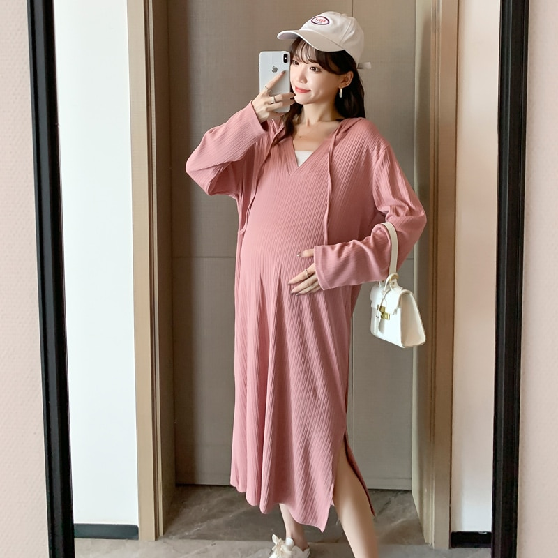 Elegant Maternity Dress Pregnancy Gown with Hat Casual Solid V Neck Long Sleeve Dresses Clothes For Pregnant Women Plus Size summer pregnancy plus size dress elegant v neck sashes floral short sleeve maternity clothes for pregnant women dresses w013