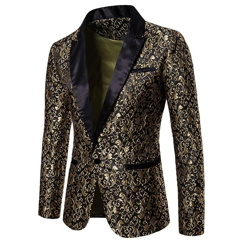 Gold Jacquard Floral Blazer Men 2019 Autumn New Slim Fit Single Button Suit Jacket Men Wedding  Part