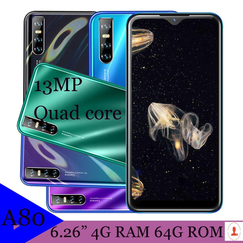 هاتف خلوي عالمي A80 ، شاشة 6.26 بوصة ، هاتف ذكي ، ذاكرة وصول عشوائي 4 جيجا ، ذاكرة وصول عشوائي 64 جيجا ، نظام أندرويد 13 ميجا بكسل ، قطرة ماء ، معالج ر...