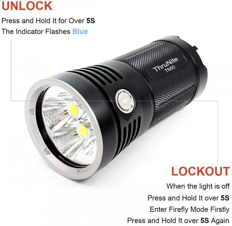 ThruNite TN50 flashlight super Lumens 16340 Four Corners XHP70.2 Super Bright Monster Rechargeable Flashlight  long life span C enlarge