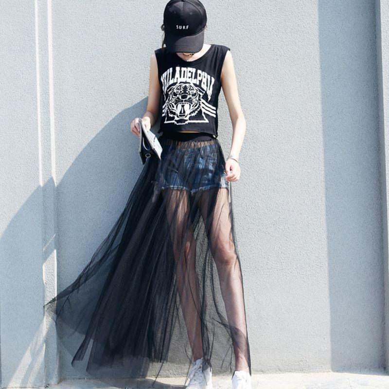 Mujer Sexy ver a través de malla Maxi Falda larga de tul ultradelgado plisado floreado Color sólido de alta cintura cóctel fiesta clubwear