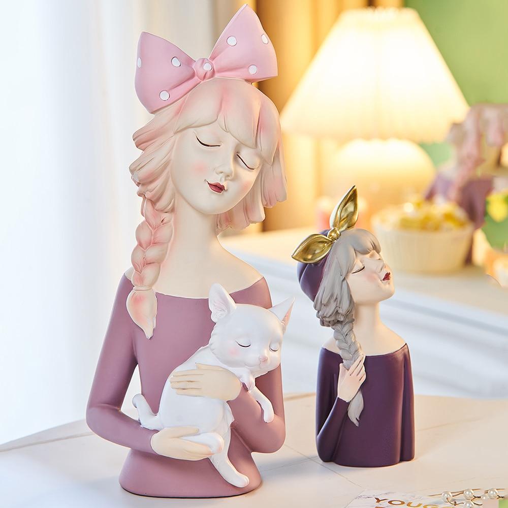 Estatua de resina de escultura de mujer para decoración del hogar decoración...