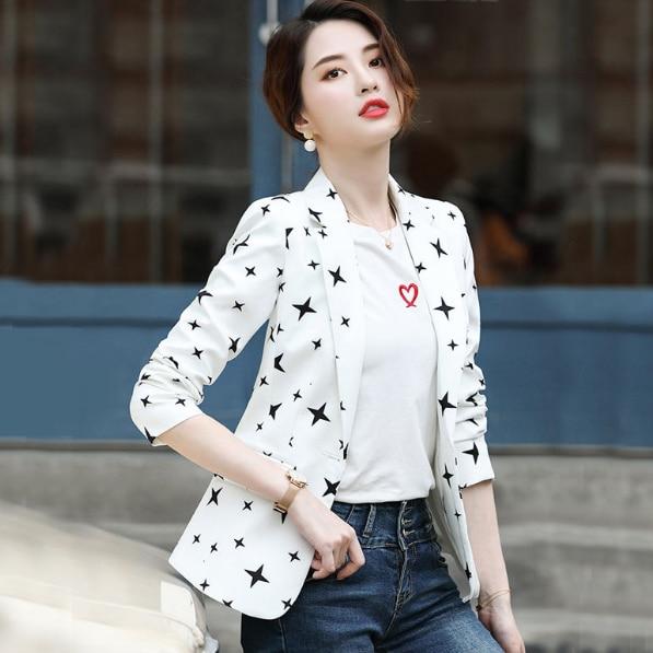 De talla grande 2020 nuevo Blazer de otoño coreano Vintage retro Luna estrellas impresión pequeño traje femenino Oficina dama solo pecho DB200