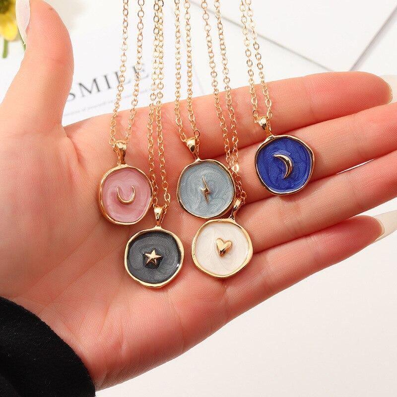 Nova moda euroben estilo rua gota de óleo feminino delicadas estrelas lua coração pingente dupla camada colar de ouro jóias para meninas