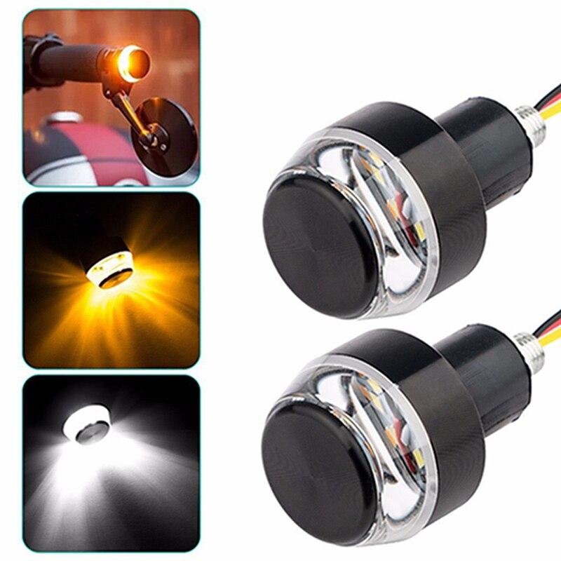 2Pcs/Pair Motorcycle LED Handlebar Turn Signal Lights DC 12V White Yellow Flasher Handle Grip Bar Side Marker Lamp