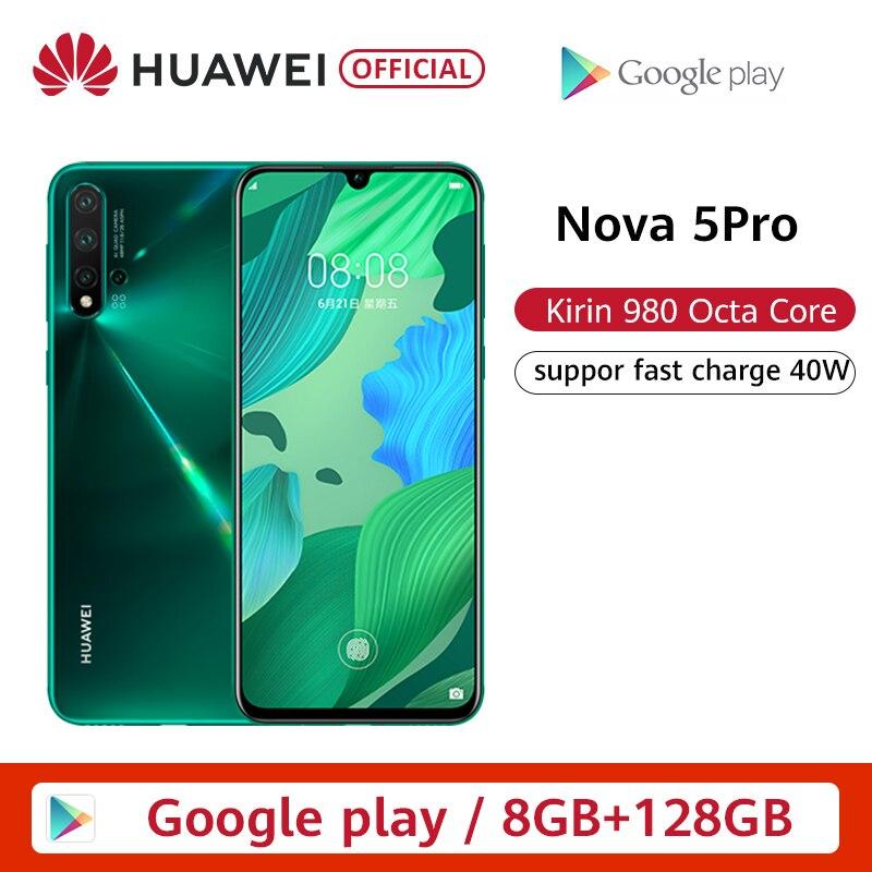 "Original Huawei Nova 5 Pro 8GB 128GB 256GB Smartphone 48MP AI cámaras 32MP cámara frontal 6,26 ""pantalla completa Kirin 980 NFC"