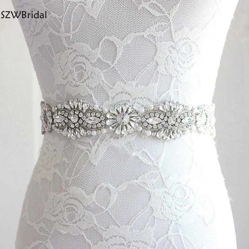 Cinturones de boda de marfil blanco para mujer, accesorios de boda, boda, novia, diamantes de imitación, cinturón para cintura Flores