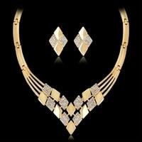 women kc gold plated rhombus shape necklace earrings rhinestones jewelry set necklace earrings rhinestones jewelry set