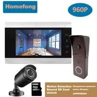 homefong video door phone intercom system ahd 960p doorbel camera motion record 130 degree sd card day night vision ir cut