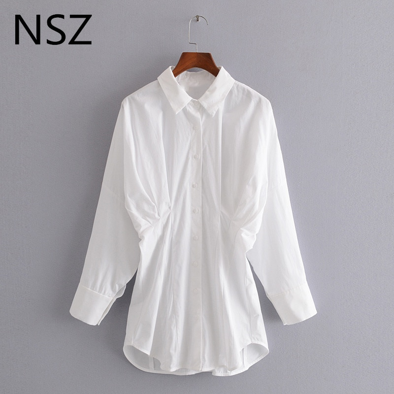 NSZ, blusa drapeada de algodón blanco para mujer, manga de murciélago, cuello vuelto, oficina, trabajo, negocios, Túnica, camisa a la moda, blusa