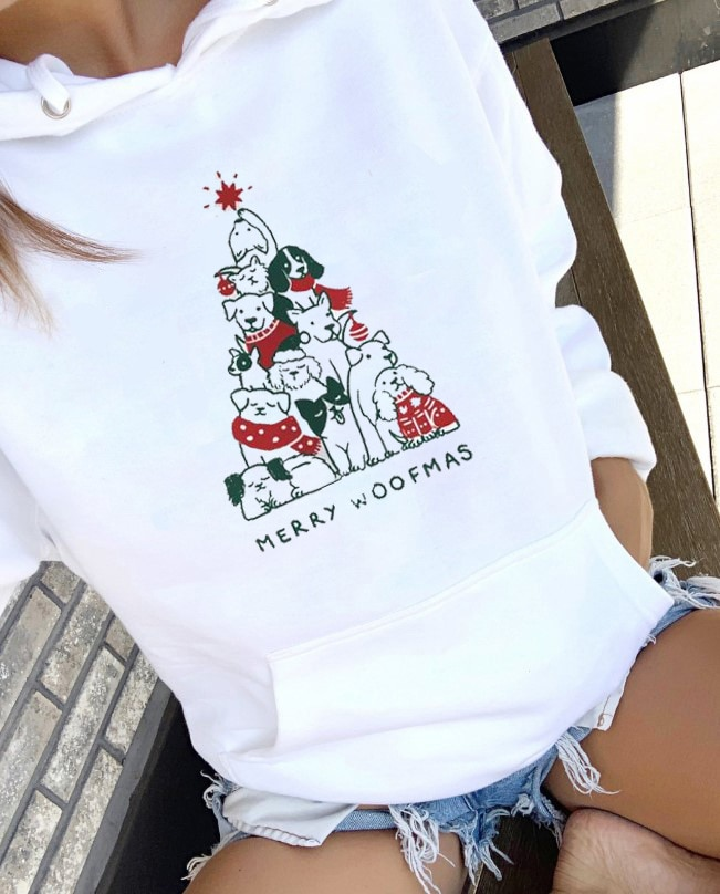 Unisex Merry Woofmas Colored Pullover Merry Christmas Holiday Graphic Hoodies Casual Stylish Christmas Dog gift Sweatshirt Tops