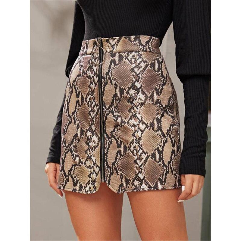 Moda mujer falda de cintura alta Sexy cremallera Faux cuero corto lápiz ajustado falda nueva mujer Sexy cremallera frontal Snakeskin Mini falda