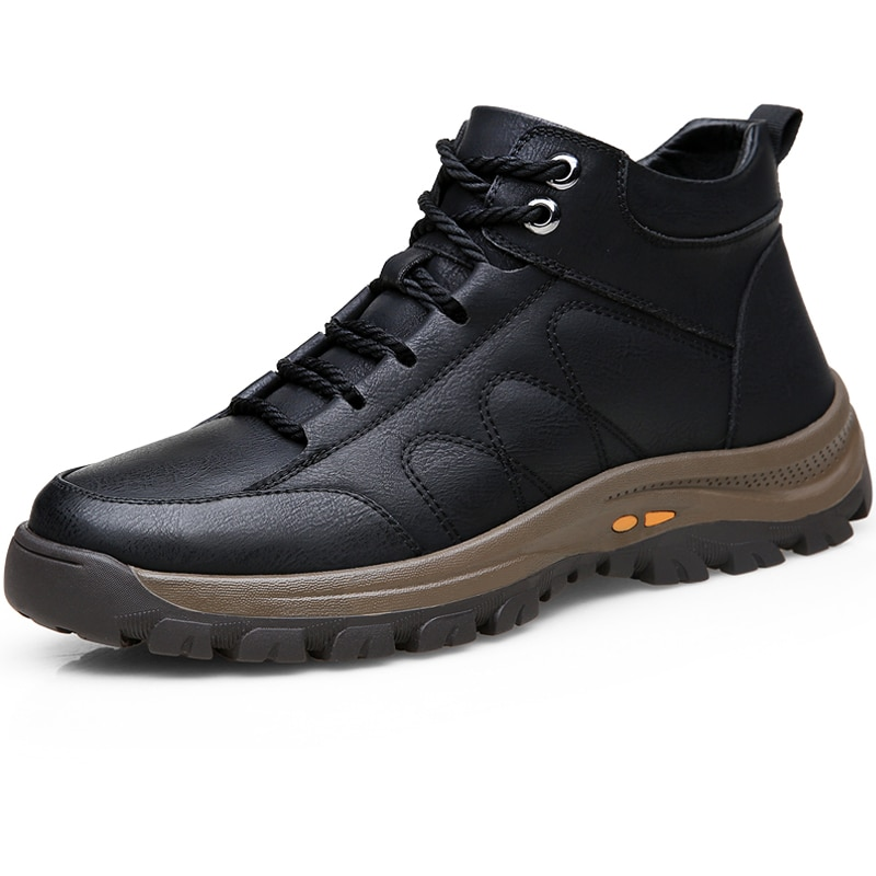 Thick Sole Men PU Leather Casual Shoes Fashion Sneakers High Top Male Boots Zapatillas Hombre Mens Footwear Autumn Outdoor Shoes