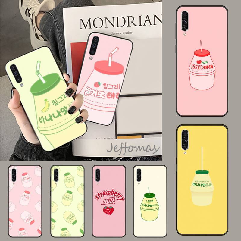 Funda de teléfono con diseño de fresa plátano leche bebida Bling para Samsung A20 A30 30s A40 A7 2018 J2 J7 prime J4 Plus S5 Note 9 10 Plus