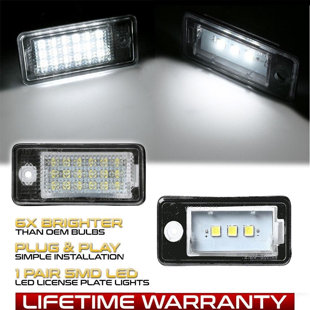 2 uds Canbus LED auto luz de placa de matrícula para Audi A6 C6 RS6 A3 8P S4 A4 B6 B7 RS4 A5 8F A8 S8 Q7 4L accesorios de coche