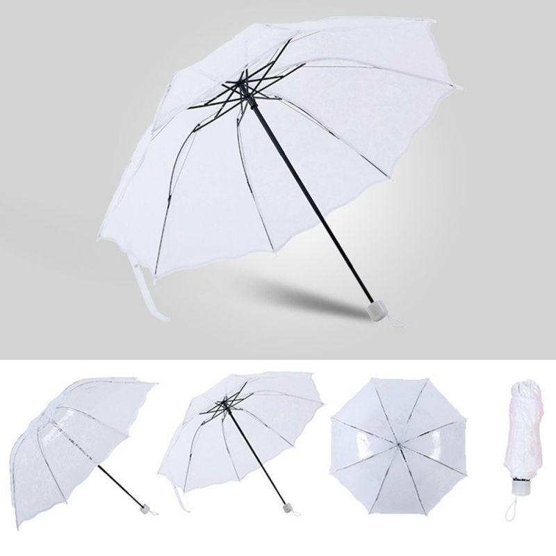 Transparent Lace Sunny And Rainy Umbrellas 3 Folding Sun Protection Summer Household Rain Gear