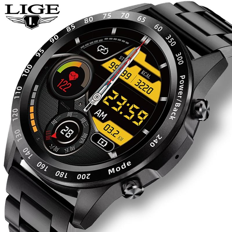 LIGE 2021 Bluetooth Call Watch Smart Watch Men Full Touch Fitness Tracker Blood Pressure Smart Clock