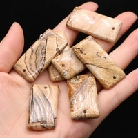 natural semi precious stones pendant rectangle picture stone diy for jewelry making necklaces accessories gift