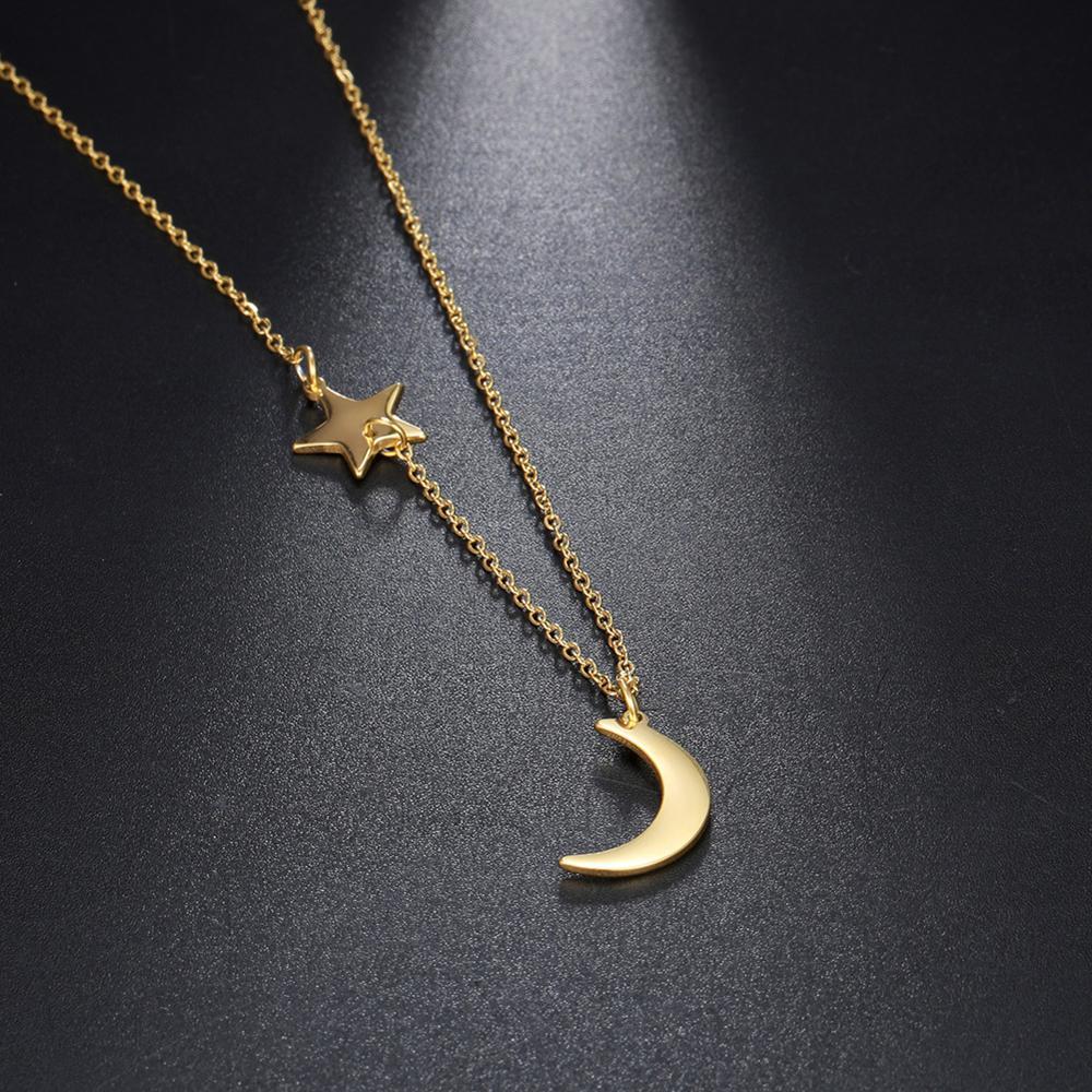 Двухподвесное ожерелье Teamer Star Moon, из нержавеющей стали, для женщин и девушек, модные корейские украшения, длинная цепь, милый друг, подарки