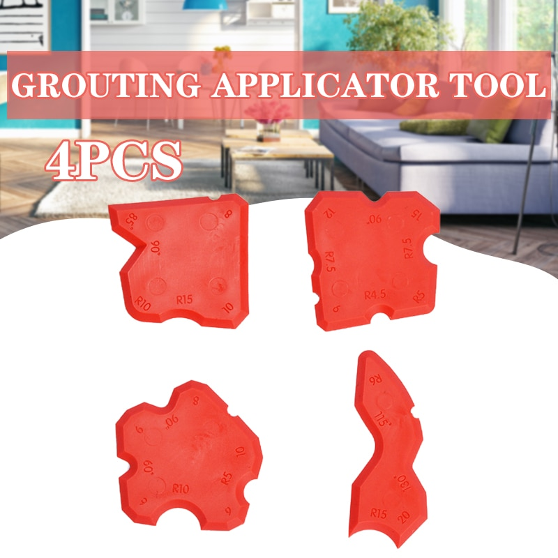 4pcs Grouting Sealant Silicone Profiling Applicator Caulk Tool for Ceramic Tile Sealant Grout Edge-Remover Scraper Hand Tool Set electric grout remover tile grout saw rake removal scraper floor wall tile remover for bathroom kitchen caulking grouting tool