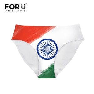 FORUDESIGNS Women Breathable Invisible Underpants India Flag Printing Mid-waist Traceless Girls Lingerie Panty Bikinis Intimates